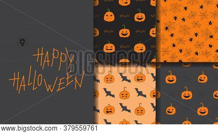 Happy Halloween Seamless Pattern Set. Set Of Seamless Patterns With Traditional Holiday Symbols: Pum
