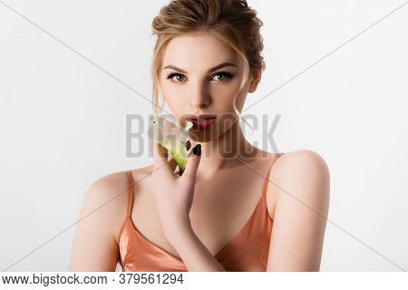 Elegant Beautiful Blonde Woman Holding Calla Flower Isolated On White