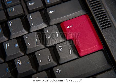 Black Keyboard With Red Key