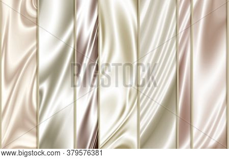 3d Wallpaper, Pale Pink Silk Background, Vertical Stripes. Colorful Cut Tissue Cloth