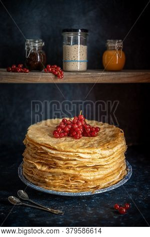 Sourdough Pancakes, Cooked In French Style Like Crepes
