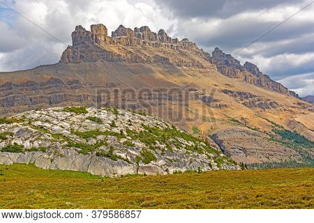 Jagged Peaks Above An Alpine Dome In Banff National Park In Alberta