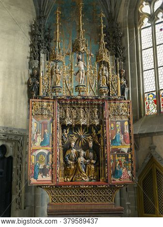 Krivoklat, Czech Republic,february 17, 2020: Krivoklat, Gothic Altar, Chapel Of The Coronation Of Th