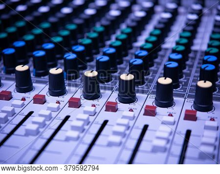 Professional Audio Sound Mixing Console, Many Buttons Of Mixer Board