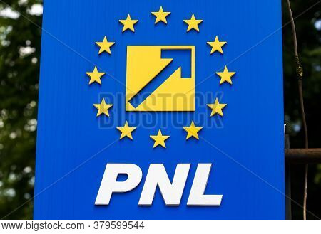 Bucharest, Romania - August 02, 2020: The Logo Of The National Liberal Party, At The Party\'s Headqu