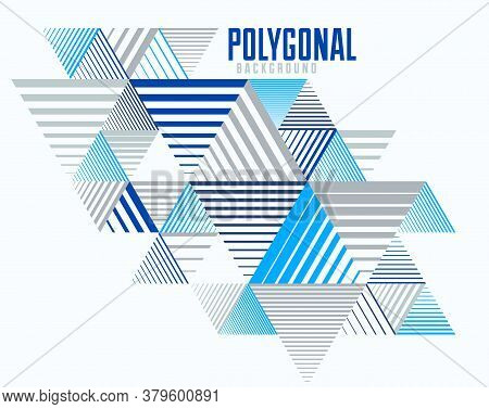 Abstract Polygonal Background With Stripy Triangles And 3d Cubes Vector Design. Template For Differe