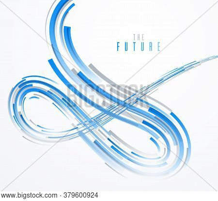 Future Technology And Science Vector Abstract Background With 3d Line Elements In Perspective, Dynam