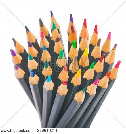 Back To School. Plain Black Multicolored Pencils For Drawing On A White Background Isolated