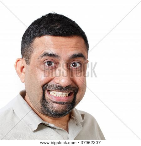 Handsome Man Looking Surprised Or Shocked On White Background. The Person Is Of Indian Origin. The P
