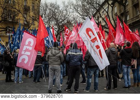Subotica, Serbia - March 27, 2016: Supporters Of The Serbian Socialist Part Cheering And Waiving The