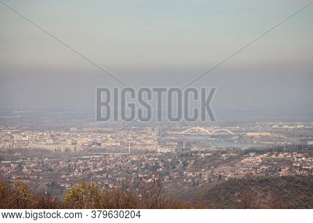 Aerial Panoramal Of Novi Sad, Seen From A Hill Of Fruska Gora National Park, With A Focus On The Dan