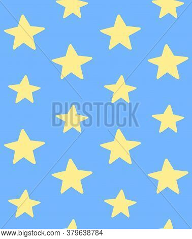 Vector Seamless Pattern Of Yellow Hand Drawn Doodle Sketch Star Silhouette Isolated On Blue Backgrou