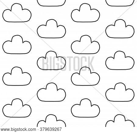 Vector Seamless Pattern Of Hand Drawn Doodle Sketch Cloud Isolated On White Background