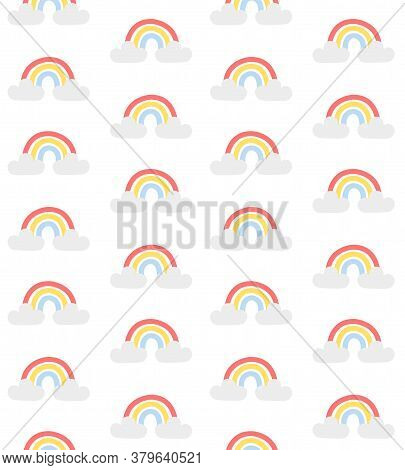 Vector Seamless Pattern Of Hand Drawn Doodle Sketch Pastel Rainbow Isolated On White Background