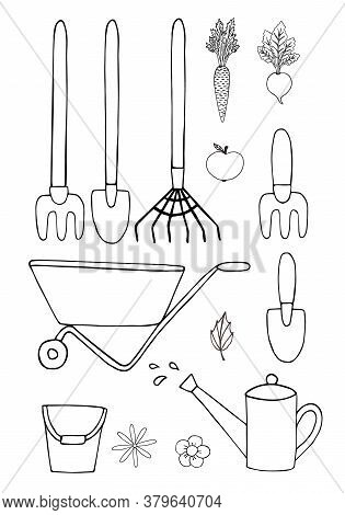 Vector Set Bundle Of Hand Drawn Doodle Sketch Gardening Equipment Isolated On White Background