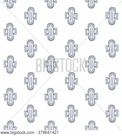 Vector Seamless Pattern Of Blue Hand Drawn Doodle Sketch Menstrual Pad Napkin Isolated On White Back