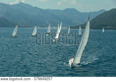 Sailing yacht race. Ships yachts with white sails in the open sea.