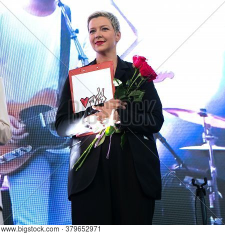 Minsk, Belarus - July 30, 2020: Maria Kolesnikova - Representative Of Viktor Babariko Staff At Oppos