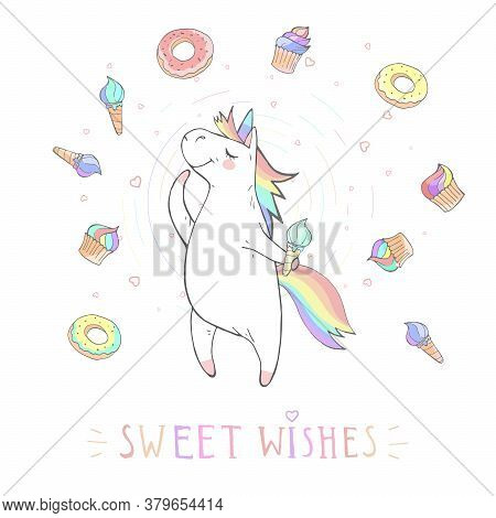 Vector Illustration Of Hand Drawn Cute Unicorn With Stars And Text - Sweet Wishes On Withe Backgroun