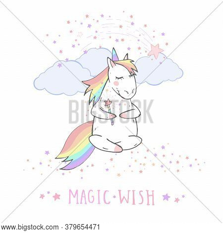 Vector Illustration Of Hand Drawn Cute Unicorn With Magic Wand And Text - Magic Wish On Withe Backgr