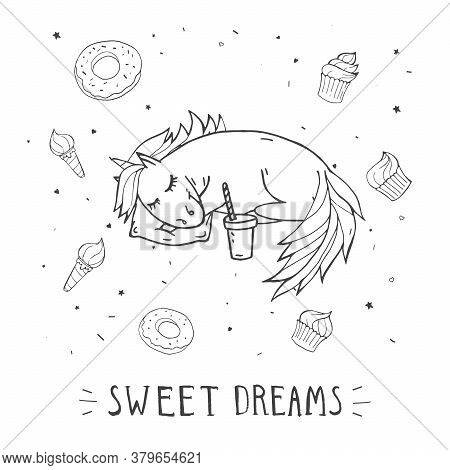Vector Illustration Of Hand Drawn Cute Sleeping Unicorn With Sweets, Coffee And Text Sweet Wishes On