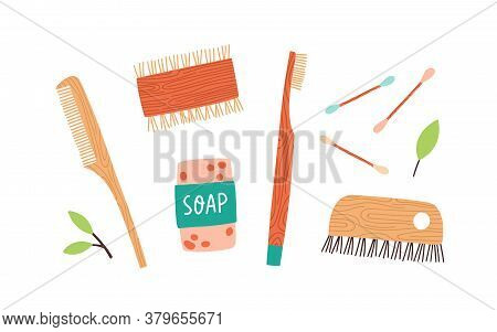 Set Of Zero Waste Durable And Reusable Hygiene Items Vector Flat Illustration. Collection Of Various