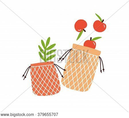 Zero Waste Durable And Reusable Bags For Grocery Carry Vector Flat Illustration. Shopping Package In