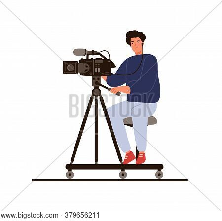 Cameraman Sitting Hold Professional Camera With Microphone Vector Flat Illustration. Operator In Ear