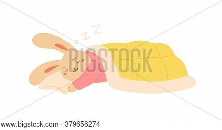 Funny Rabbit Sleeping On Pillow Covered By Blanket Vector Flat Illustration. Cute Sleepy Bunny Lying