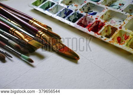 Watercolour Palette And Brushes. Vibrant Colours Used On The Palette. Shot At Howrah, West Bengal, I