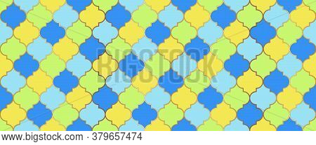 Moroccan Seamless Mosaic Ornament. Ottoman Mosque Window Grid. Eid Mubarak Islamic Illustration. Ram