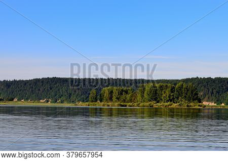 Landscape Green Forest Trees Grow On The Other Side Of The River, Outdoor Recreation, Water Journey,