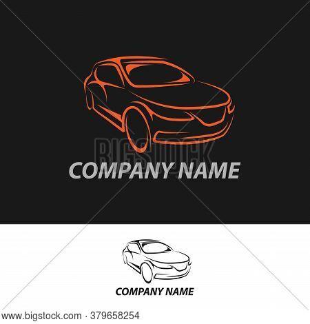 Suv Car Logo On Dark Background. Modern Suv Car. Simple Line Utility Vehicle Silhouette.