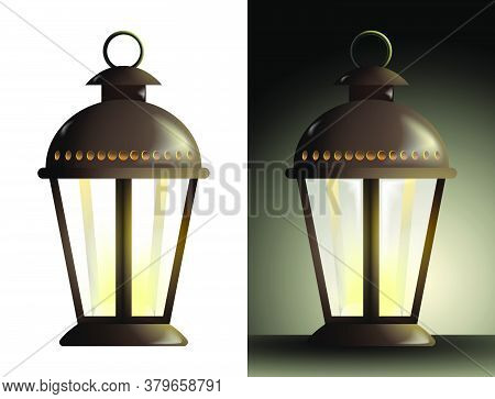 Realistic Street Lamp With A Candle Inside And Translucent Glass Walls. Lanterns And Lighting For Ho