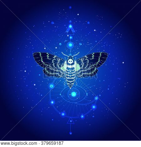 Vector Illustration With Hand Drawn Butterfly Dead Head And Sacred Geometric Symbol Against The Star