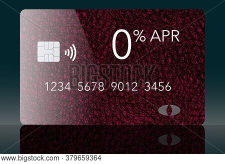 Here Is Generic Red And Black Credit Card That Offers A Zero Annual Percentage Rate.