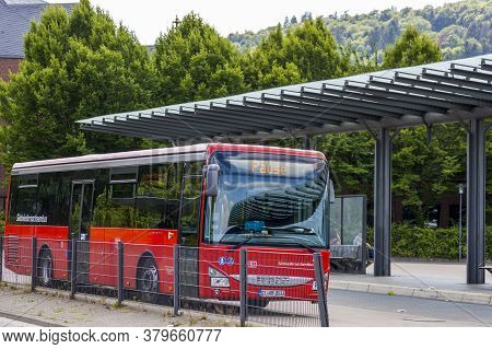 Goslar, Germany - July 08, 2018: Tourist Bus Stands At A Stop In Goslar, Germany