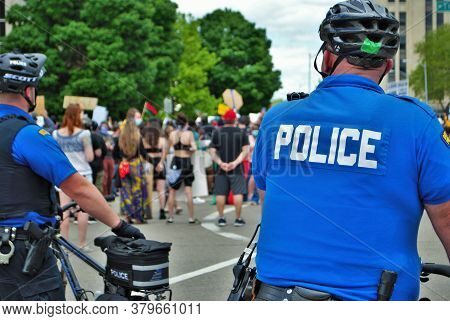 Dayton, Ohio United States 05/30/2020 Police Officers Controlling The Crowd At A Black Lives Matter