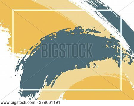 Horizontal Border With Paint Brush Strokes Background.  Graphic Design Template For Flyer. Vector Bo