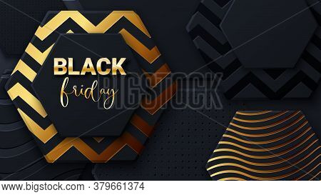 Black Friday Sale Banner Or Poster With Black And Gold Honeycomb Tiles. Black Friday Commercial Bann