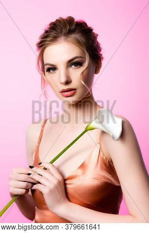 Elegant Beautiful Blonde Woman Holding Calla Flower Isolated On Pink
