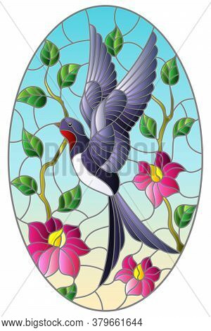 Illustration In Stained Glass Style With A Swallow Bird On The Background Of Tree Branches With Flow