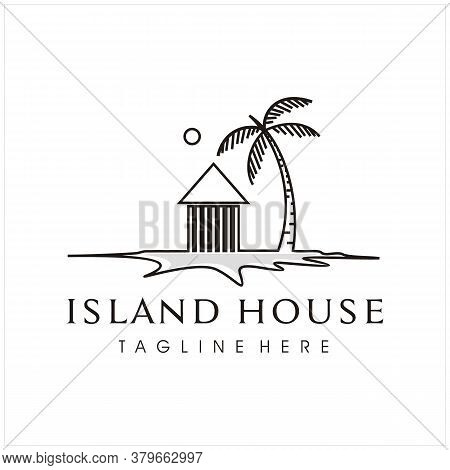 Minimalist Island House With Coconut  Tree Island And Sun For Vacation Place, Hotel, Apartment, Resi