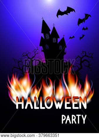 Vector Illustration With Burning Inscription , Gloomy Castle And Text Halloween Party On The Backgro