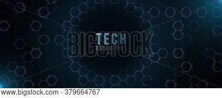 Futuristic Hi-tech Banner. Glowing Blue Neon Honeycombs With Flying Glowing Particles. Modern Techno
