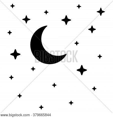 Night Sky.  Symbols Of Night.  Vector Illustration. Black Elements On White Background.