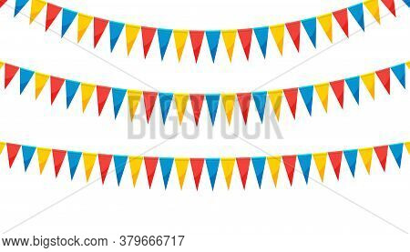 Paper Bunting Party Flags Isolated On White Background. Carnival Garland With Flags. Decorative Colo