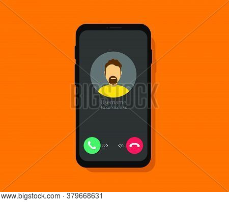Incoming Call On The Phone. Smartphone Screen With Incoming Call. Phone Call Interface. Flat Style
