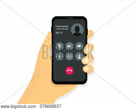 Hand Holds A Phone With An Incoming Call. Received Incoming Call Interface In Cartoon Style.