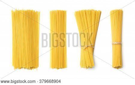 Collection Of Spaghetti Isolated On White Background. Set Of Multiple Images. Part Of Series